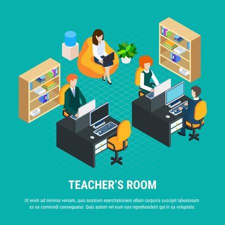 Concepto isométrico de educación con maestros que trabajan en computadoras en su habitación ilustración vectorial 3d