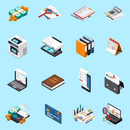 Accounting tax isometric icons collection with financial statements credit card calculator cash counting machine isolated vector illustration Иллюстрация