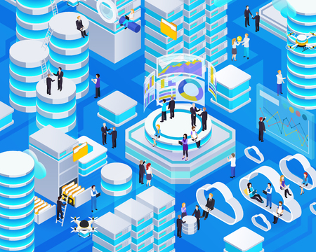 Big data analysis technologies business intelligence cloud computing and databases software isometric glowing symbols composition vector illustration Ilustrace