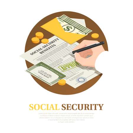 Document execution for social security benefits isometric round composition with unconditional income vector illustration Illustration