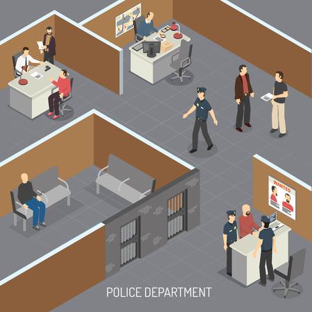 Composition isométrique intérieure du service de police avec suspect de crime en détention provisoire avant procès et illustration vectorielle du bureau des détectives