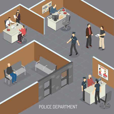 Police department interior isometric composition with crime suspect in pretrial provisional detention and detectives office vector illustration Illustration