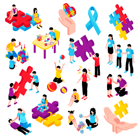 Autism isometric colorful set with behavior difficulties depression communication problems hyperactivity and epilepsy isolated vector illustration