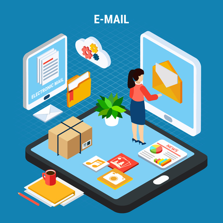 Mail isometric abstract composition with e mail headline and woman receives mail remotely via computer vector illustration 向量圖像