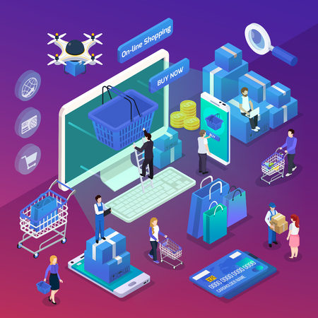 E-commerce mobile shopping glow isometric compositions with buying products online and drone orders delivery vector illustration Illustration
