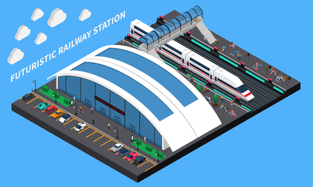 Futuristic railway station isometric composition with spacious station speed train and elevated pedestrian crossing vector illustration