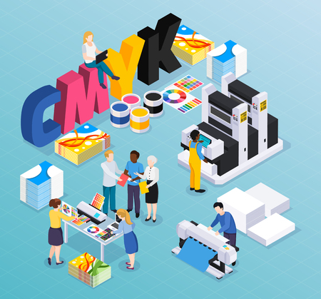 Composición isométrica de la casa de impresión de la agencia de publicidad con los trabajadores de los diseñadores de los clientes que producen la ilustración de vector de material de anuncios de prensa coloridos