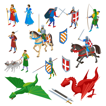 Medieval isometric characters set of isolated swords ancient weapons and human characters of warriors with dragons vector illustration Banque d'images - 114196743