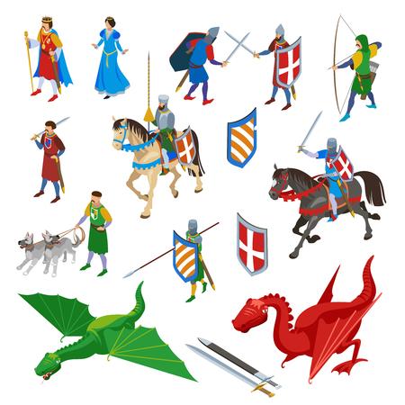 Set di caratteri isometrici medievali di spade isolate, armi antiche e personaggi umani di guerrieri con illustrazione vettoriale di draghi Vettoriali
