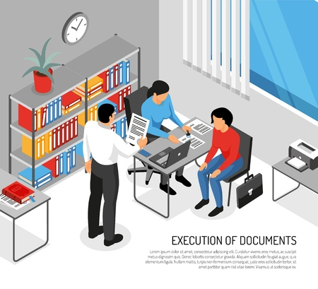 Notary and clients during execution of documents in office interior isometric vector illustration Stock fotó - 126710117