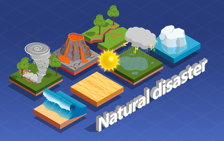 Natural disaster isometric composition with volcano eruption and tornado isolated vector illustration