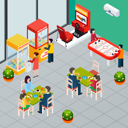 Families with children having lunch and playing game machines 3d isometric vector illustration