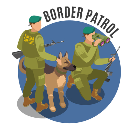 Border patrol isometric round composition frontier guards with binoculars and german shepherd on blue background vector illustration