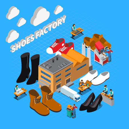 Footwear factory isometric concept with shoes and boots symbols vector illustration