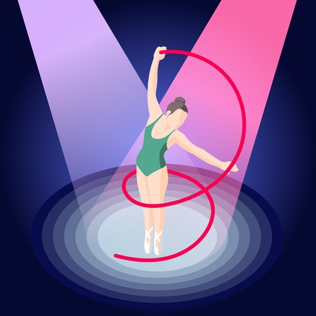 Ballet isometric composition of ballerina with ribbon in pointe shoes on stage illuminated by spotlights vector illustration