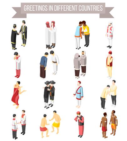 Ensemble d'icônes décoratives isométriques illustrées de manière et de gestes de salutations de personnes dans différents pays isolés illustration vectorielle