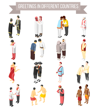 Set of isometric decorative icons illustrated manner and gesture of people greetings in different countries isolated vector illustration