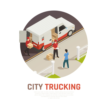 City trucking isometric round composition with cargo delivery by mini bus vector illustration Illustration