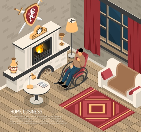 Man enjoying home cosiness in rocking chair with drink near fire place isometric vector illustration