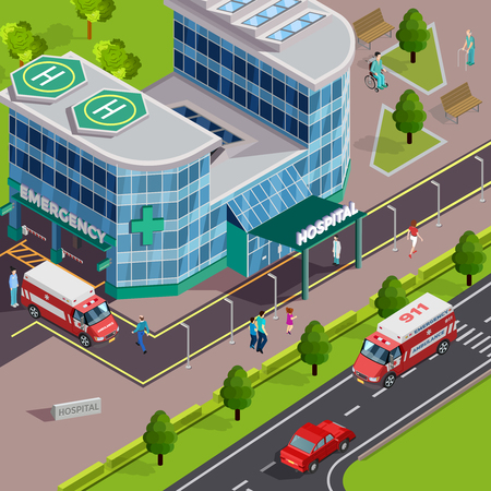 Medical equipment isometric composition with outdoor view of modern hospital building with ambulance cars and helipads vector illustration