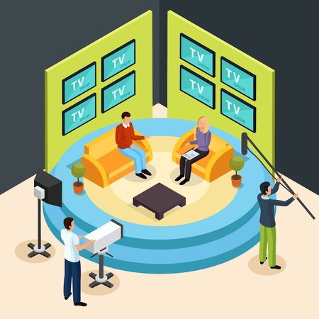Isometric quiz tv show composition with view of talk show television studio with shooting crew members vector illustration