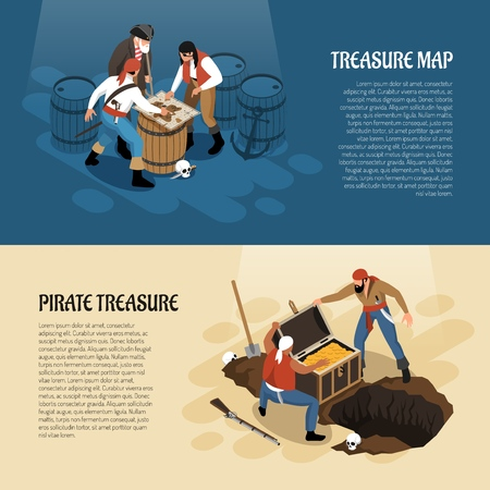 Pirates near treasure map and chest with gold isometric banners isolated on blue beige background vector illustration  Illustration