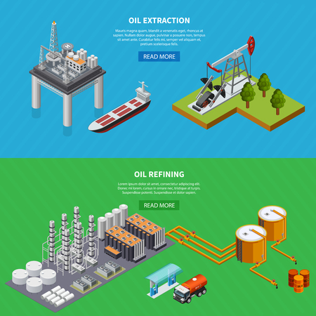 Isometric set of two horizontal banners with oil industry refining and extraction equipment isolated on colorful background 3d vector illustration