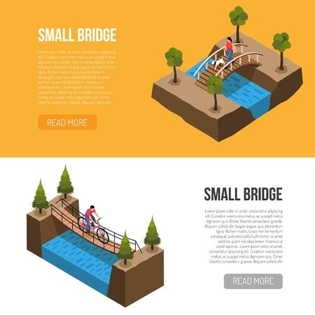 Pequeños puentes históricos presenta 2 banners horizontales isométricos diseño de página web con diferentes construcciones de madera ilustración vectorial