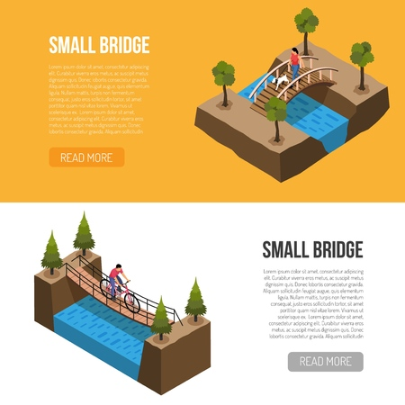 Historical little bridges features 2 isometric horizontal banners web page design with different wooden constructions vector illustration    Illustration