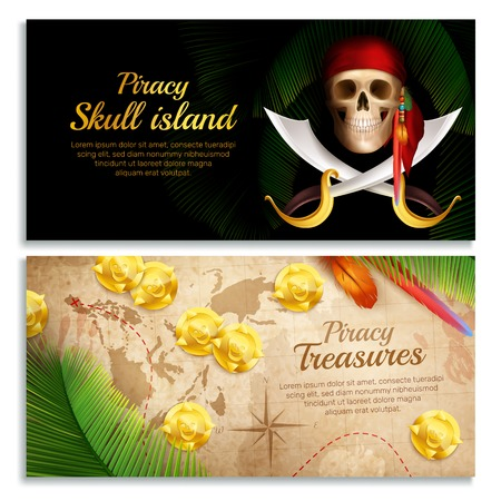 Pirate realistic horizontal banners set with treasures symbols isolated vector illustration
