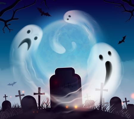 Graveyard ghost realistic halloween scenery landscape composition with scary and funny spooks floating above cemetery vector illustration   向量圖像
