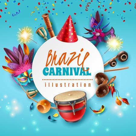 Brasil carnaval celebration festive accessories round frame with sparkling lights party hats masks musical instruments vector illustration  Ilustração