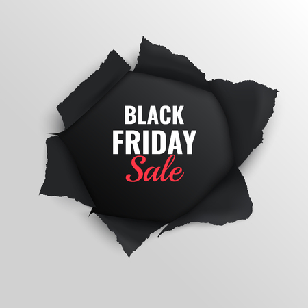 Black friday-verkoop realistische compositie op grijze achtergrond met gescheurde papieren vectorillustratie