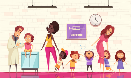 Kids vaccination vector illustration with pediatrician holding syringe and crying children afraid of vaccine injection Stock Illustratie