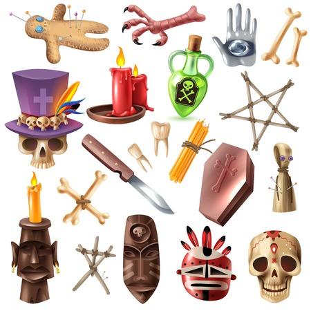 Voodoo afrykańskie praktyki okultystyczne atrybuty kolekcja z kościami czaszki maska świece rytualne szpilki dla lalek realistyczna ilustracja wektorowa