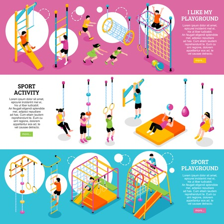Set of three horizontal children sport complex banners with isometric images of climbing frames and kids vector illustration