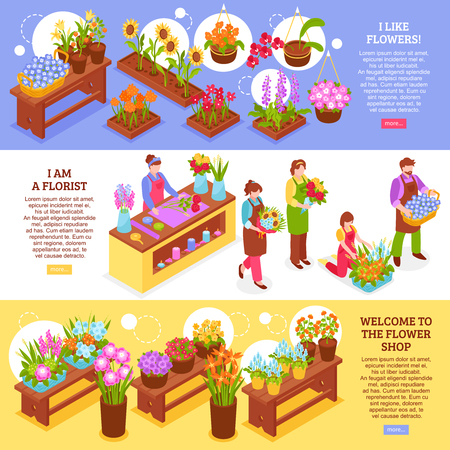 Set of three isometric florist banners with flower shop elements bough-pots seller characters and text vector illustration