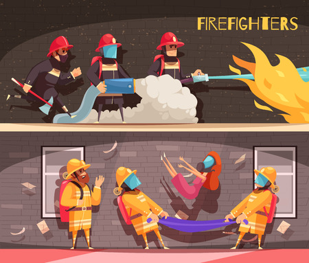 Set of two horizontal firefighter banners with cartoon style images and human characters in fire situations vector illustration