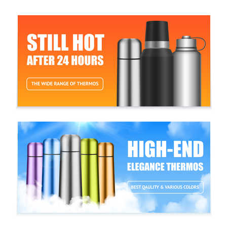 Stainless steel colorful beverage can insulator vacuum flasks 2 realistic horizontal advertising online banners isolated vector illustration