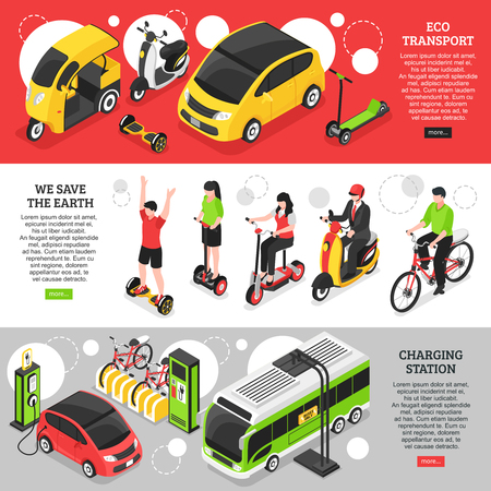 Eco transport horizontal banners with city and personal vehicles and charging station for electric cars isometric vector illustration