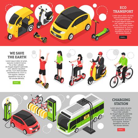 Horizontale Banner des Öko-Transports mit Stadt- und Privatfahrzeugen und Ladestation für isometrische Vektorillustrationen von Elektroautos
