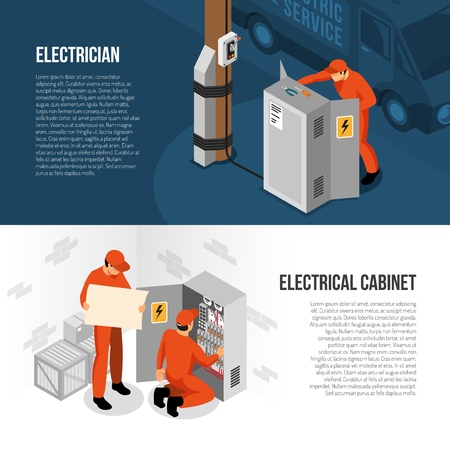 Electrician service 2 isometric horizontal banners with information on switch cabinet panel control and replacing vector illustration