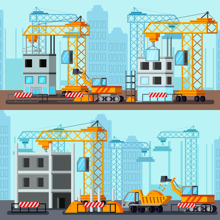 Sky scraper construction flat compositions with building site of tall houses on city background vector illustration