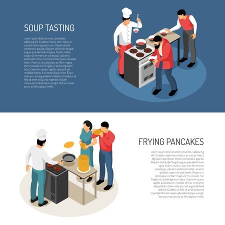 Chef cook food preparation duties 2 isometric horizontal banners with frying pancakes soup taste checking vector illustration