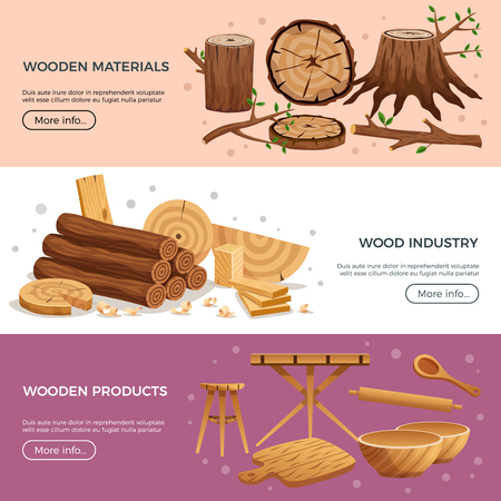 Wood industry 3 horizontal banners web page design with kitchen utensils manufactured out ecological material vector illustration Illustration