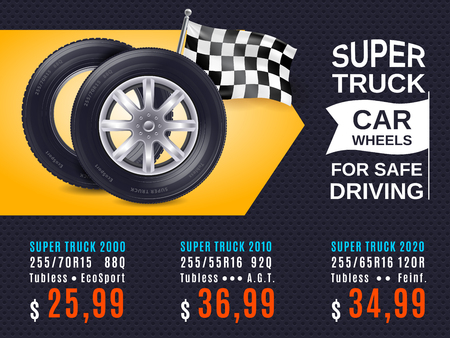 Realistic car wheels for safe driving ad poster with product prices on yellow black background vector illustration