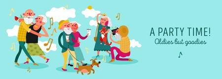 Elderly couple design horizontal concept with party time symbols flat vector illustration Illustration