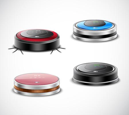 Set di aspirapolvere robot di forma rotonda e vari colori su sfondo chiaro illustrazione vettoriale isolato Vettoriali