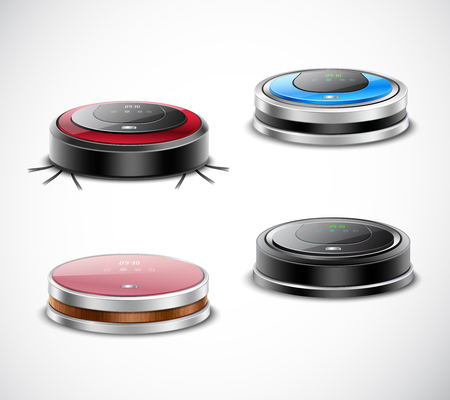 Set of robotic vacuum cleaners of round shape and various color on light background isolated vector illustration