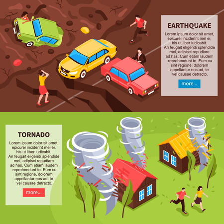 Natural disaster horizontal banners with earthquake and tornado isometric compositions vector illustration